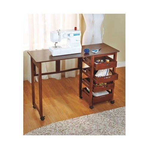 Folding desk sewing craft table laptop workstation portable furniture storage pick up - Craft desk with storage ...