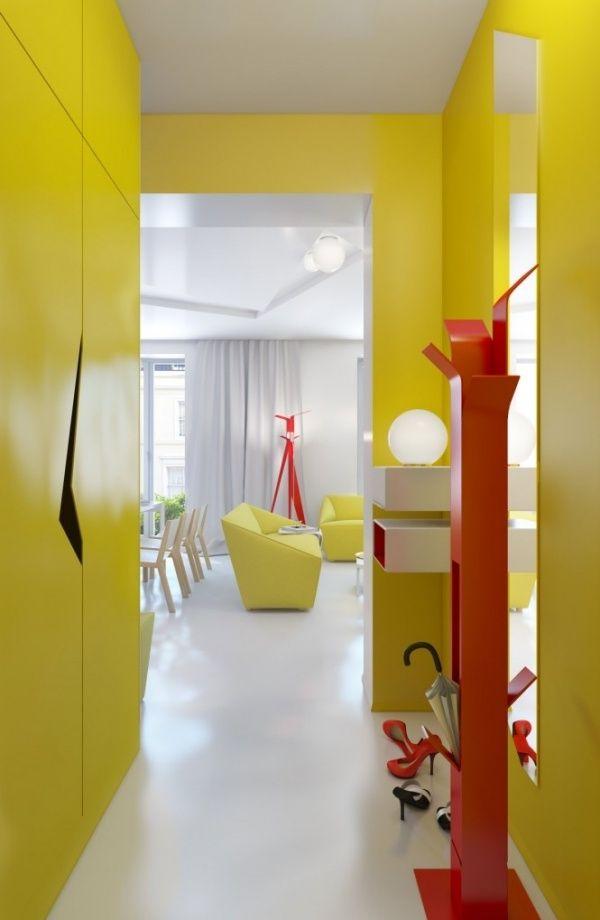 Designer Wohnung-Flurgestaltung-Gelber Wandanstrich-Kleiderständer ...