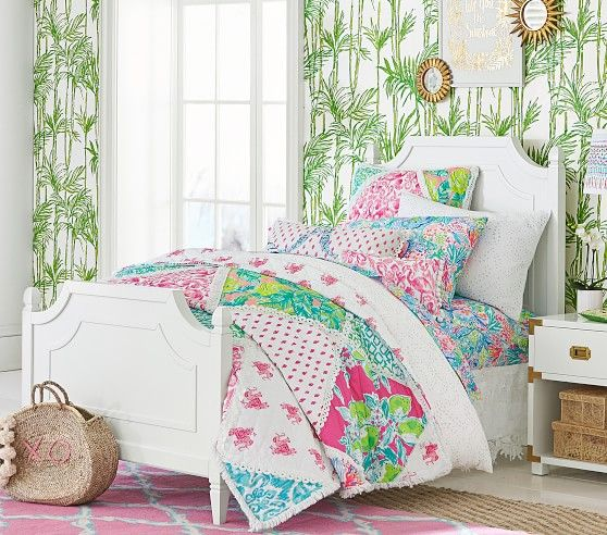 79c13f88d1a503 Imagined exclusively for Pottery Barn… Lilly Pulitzer Organic Mermaid Cove  Sheet Set #pbkids Preppy Bedroom, Girls Bedroom, Bedroom