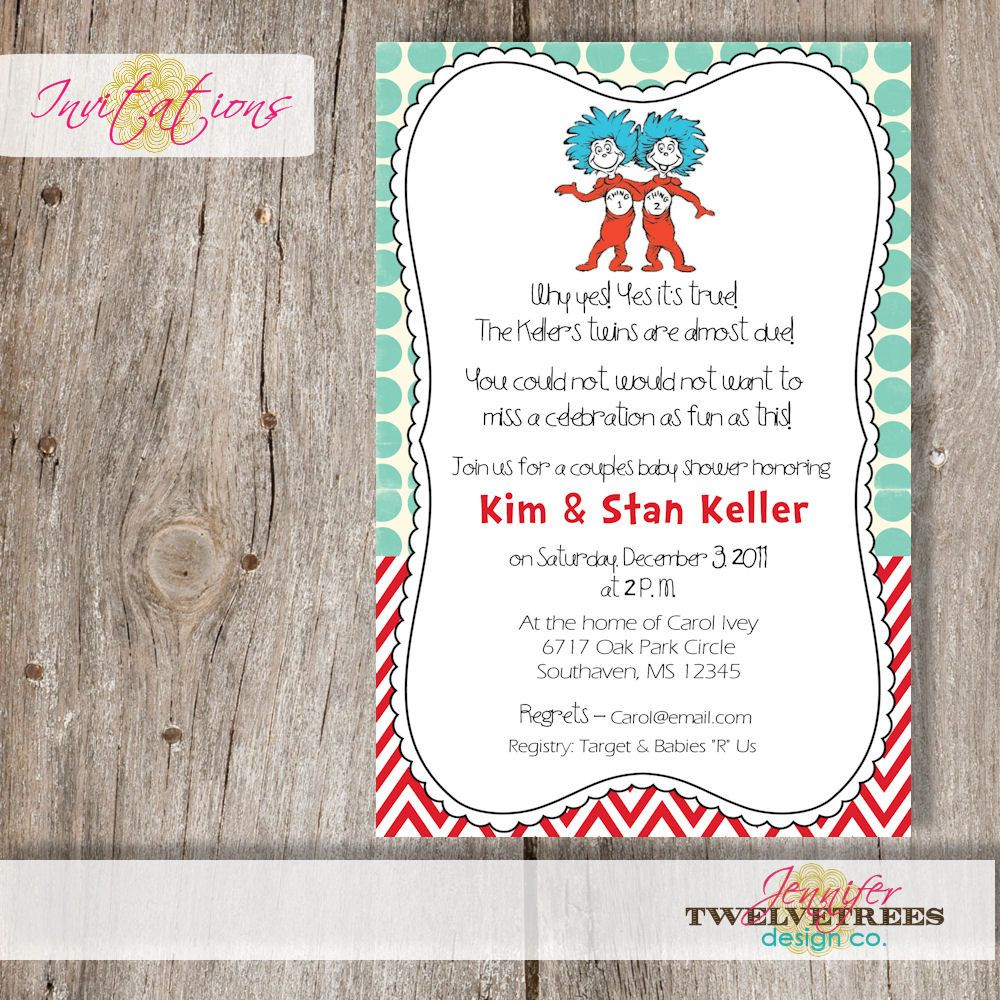 Thing 1 and Thing 2 Baby Shower Invitation......DIY Printable ...