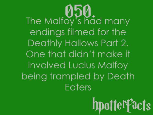 Harry Potter Facts #050:    The Malfoys had many endings filmed for the Deathly Hallows part 2.  One that didn't make it involved Lucius Malfoy being trampled by Death Eaters.