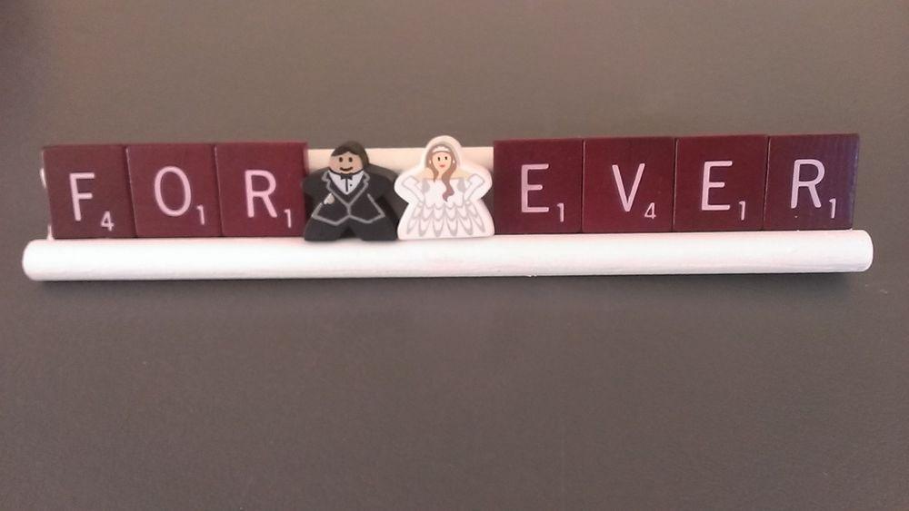 MEEPLES FOREVER -Board Game Decor Crafts-Wedding Bride Groom Scrabble Repurposed
