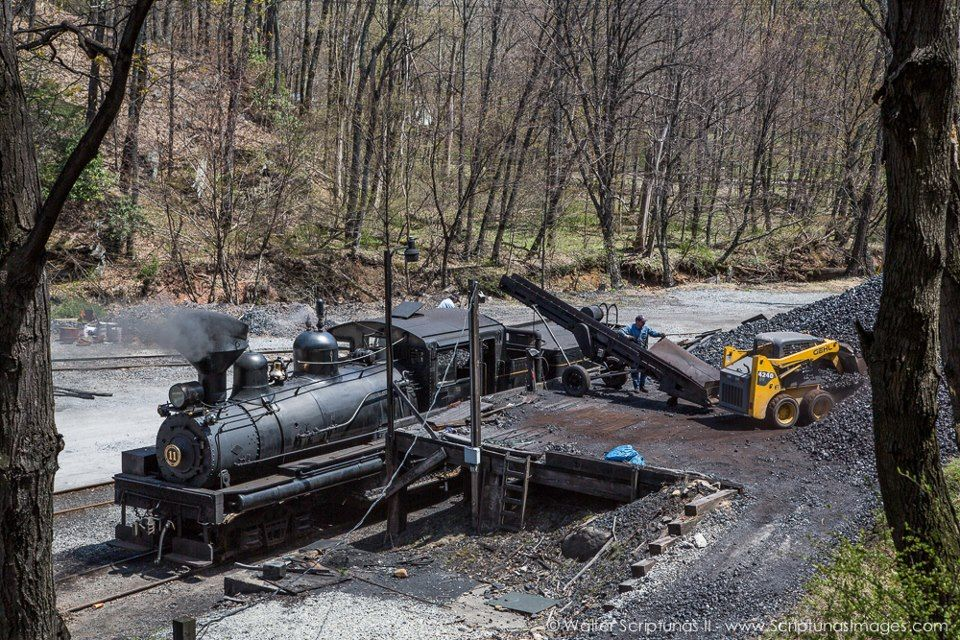 Cass Scenic Railroad - An overhead view of Shay #11 receiving a load of coal at the coal dock. Both #11 and #4 are currently under steam.