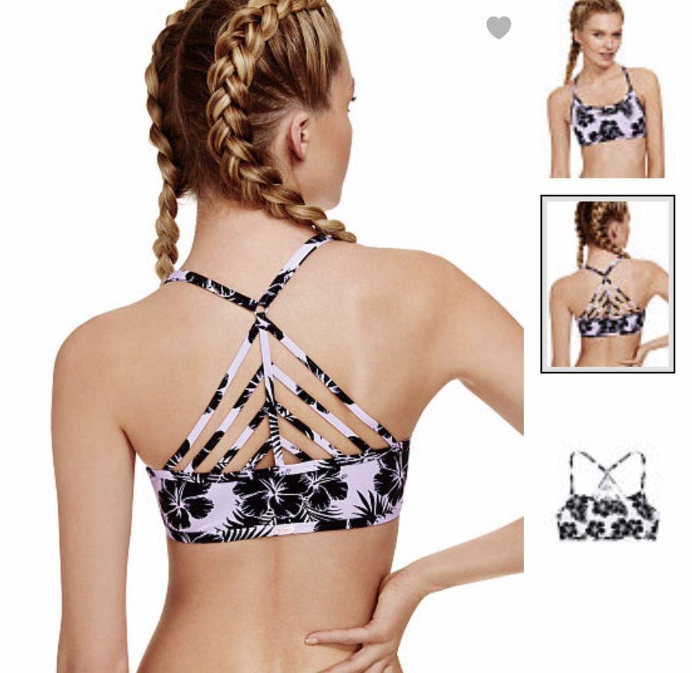 NEW Women's Victoria's Secret PINK Cotton Lounge Strappy Bralette ...