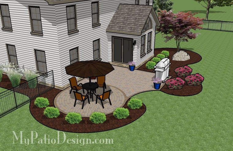 simple brick patio with circle