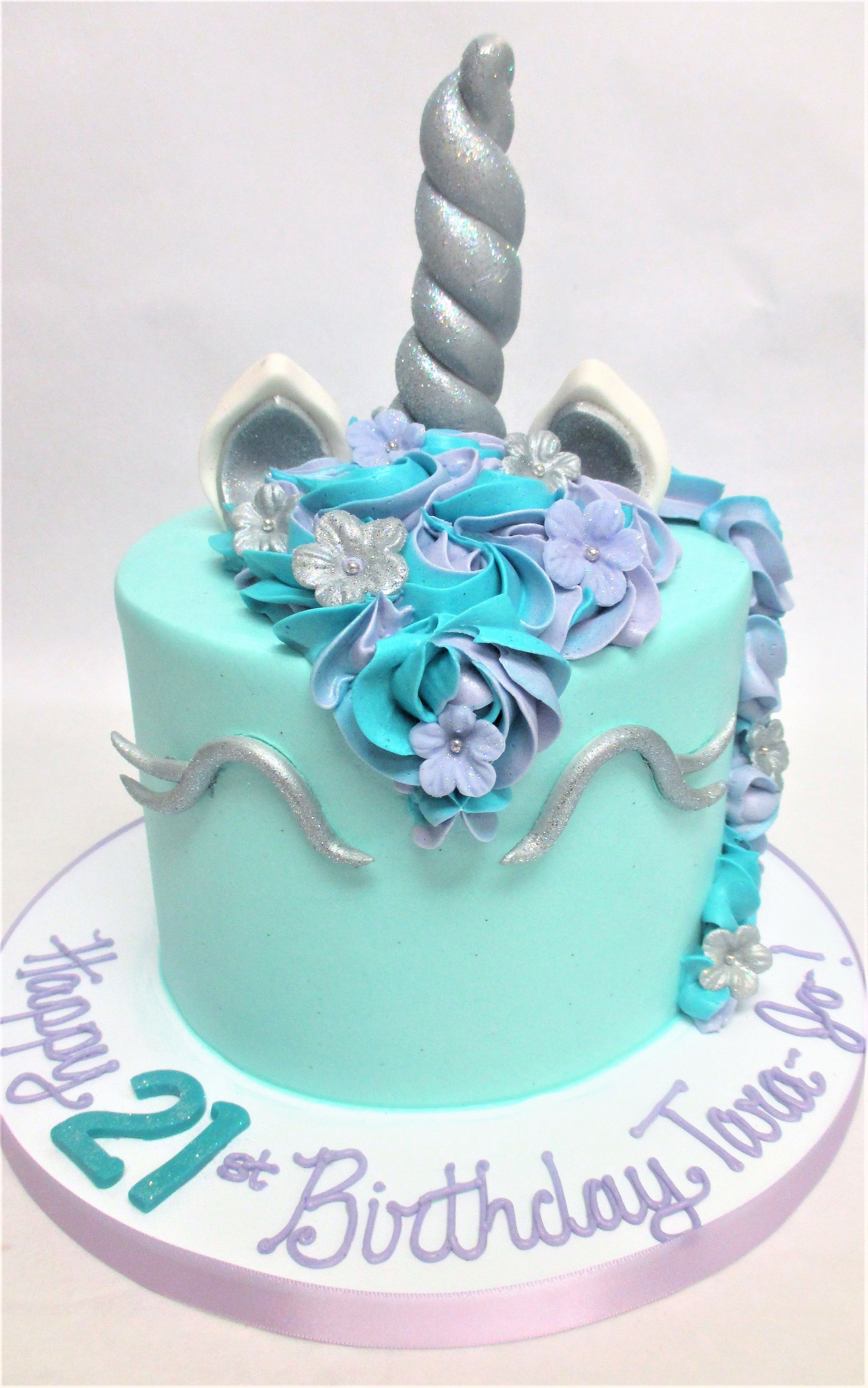 Blue And Silver Unicorn Birthday Cake By Flavor Cupcakery