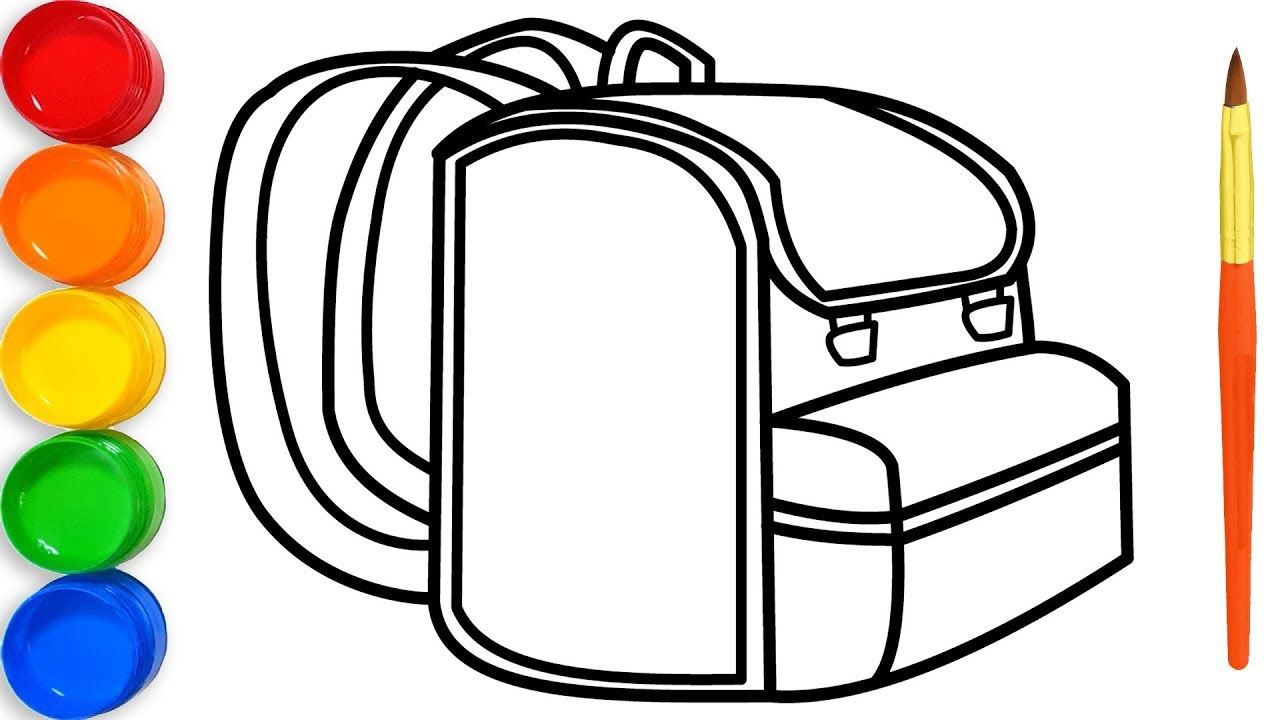Backpack Drawing And Coloring Page For Kids Toy Art Fun Draw