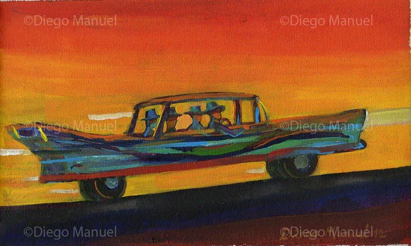 """Cuatro en el cadillac"", acrylic on canvas,  18 x 30 cm. year 2012 Price of original painting: inquire"