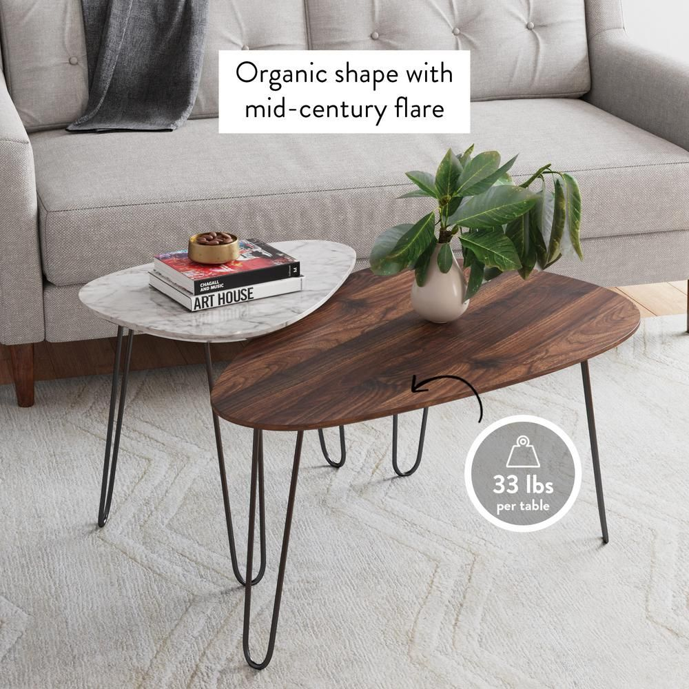 Nathan James Bodhi 2 Piece 34 In White Marble Brown Medium Specialty Wood Coffee Table Set With Nesting Tables 31901 The Home Depot In 2021 Nesting Coffee Tables Coffee Table Coffee Table Small Space [ 1000 x 1000 Pixel ]