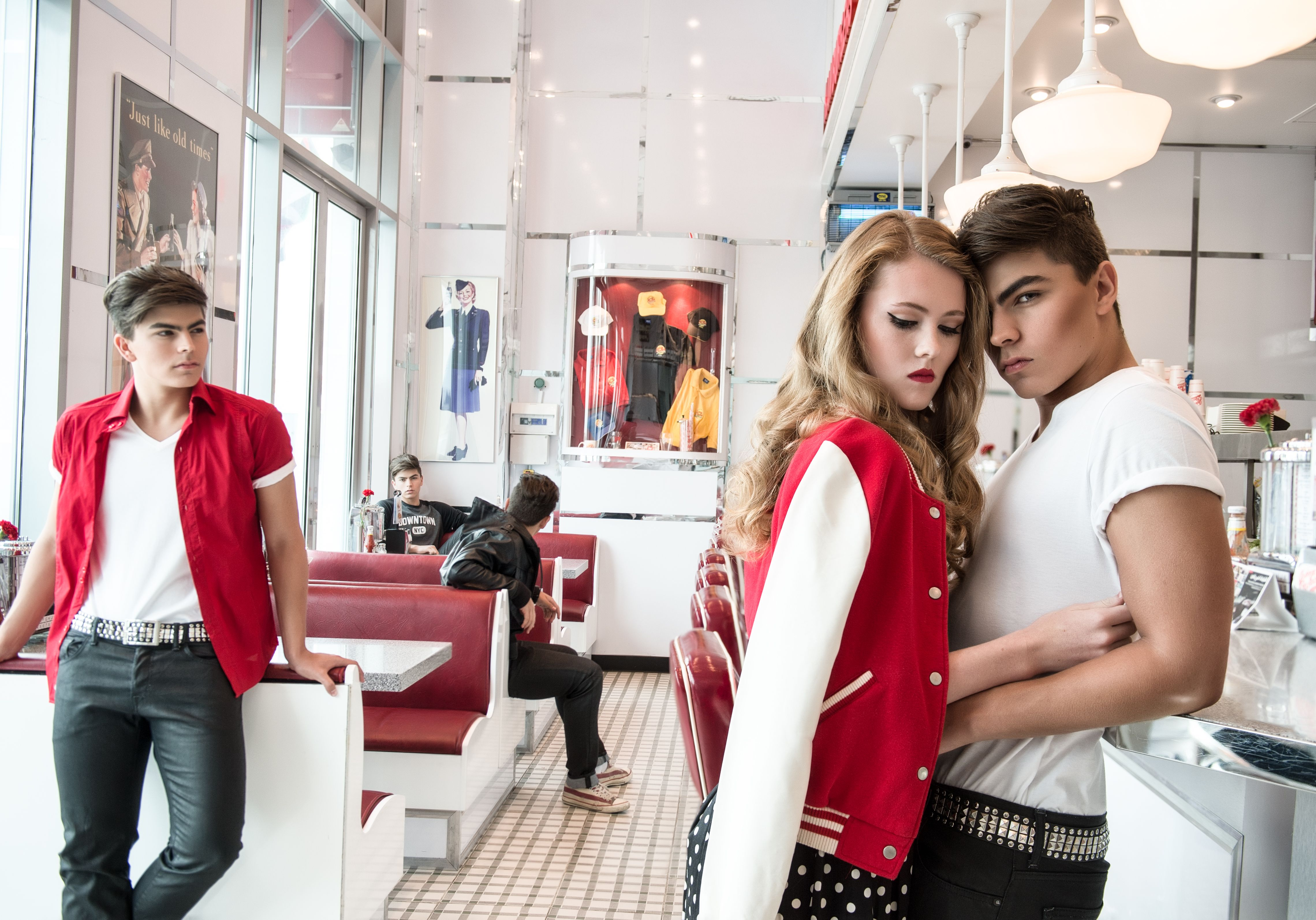 S Photo Shoot Red Teens Teen Love Dubai Dubai Models Letter Jacket Girl Boy Date Johnny Rockets Diner Cafe Red Chair Jacqueline Kent