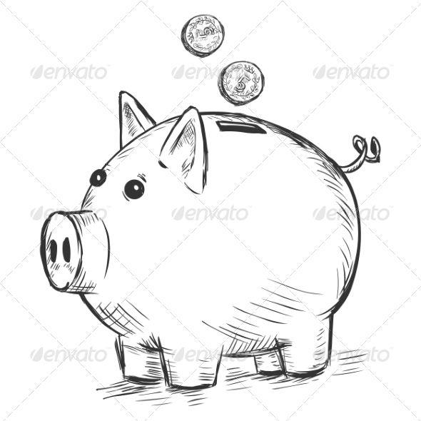 Piggy Bank Sketch Sparschwein Skizzen Schwein