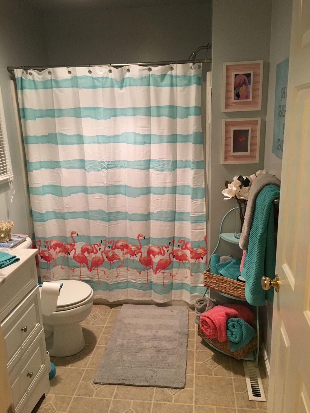 Bathroom Pink Flamingos Aqua Blue Gray Pink Bathroom Decor Blue Bathroom Decor Restroom Decor