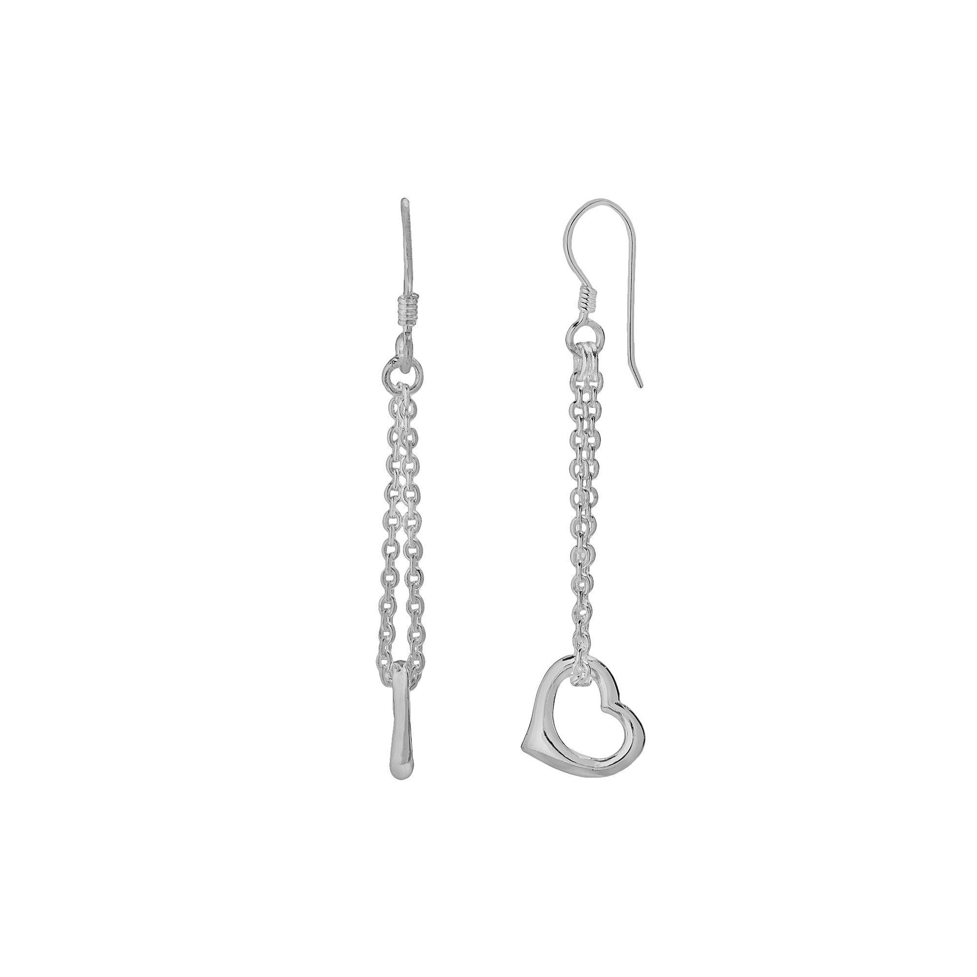 Heart Linear Drop Earrings, Women's, Silver