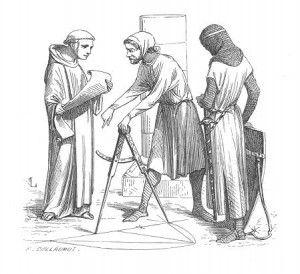 Darstellung eines mittelalterlichen Dombaumeisters mit Zirkel (Quelle: Wikipedia)