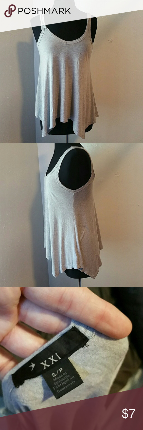 Grey Tank Flowy and great on its own or layered up!  S but could fit M or L. Forever 21 Tops Tank Tops