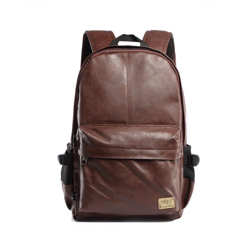 0c0cb7a8db Preppy Style Mens School Bag Fashion Double Shoulder Bags Waterproof Laptop  Backpack Simple Leather Backpacks Travel