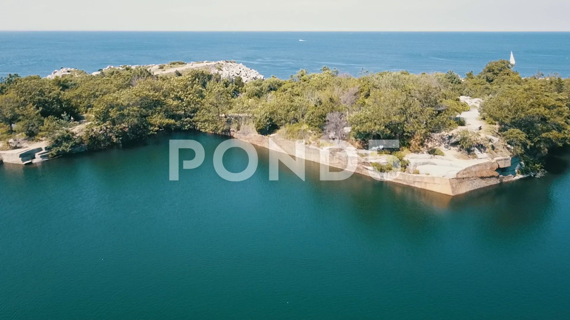 Aerial Flyover Ocean Shore Nature Reserve Stock Footage OceanShoreAerialFlyover