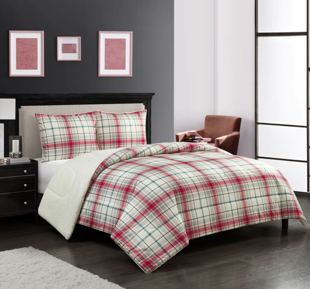 Grey Plaid Cozy Flannel Reverse to Super Soft Sherpa Comforter Set Full//Queen