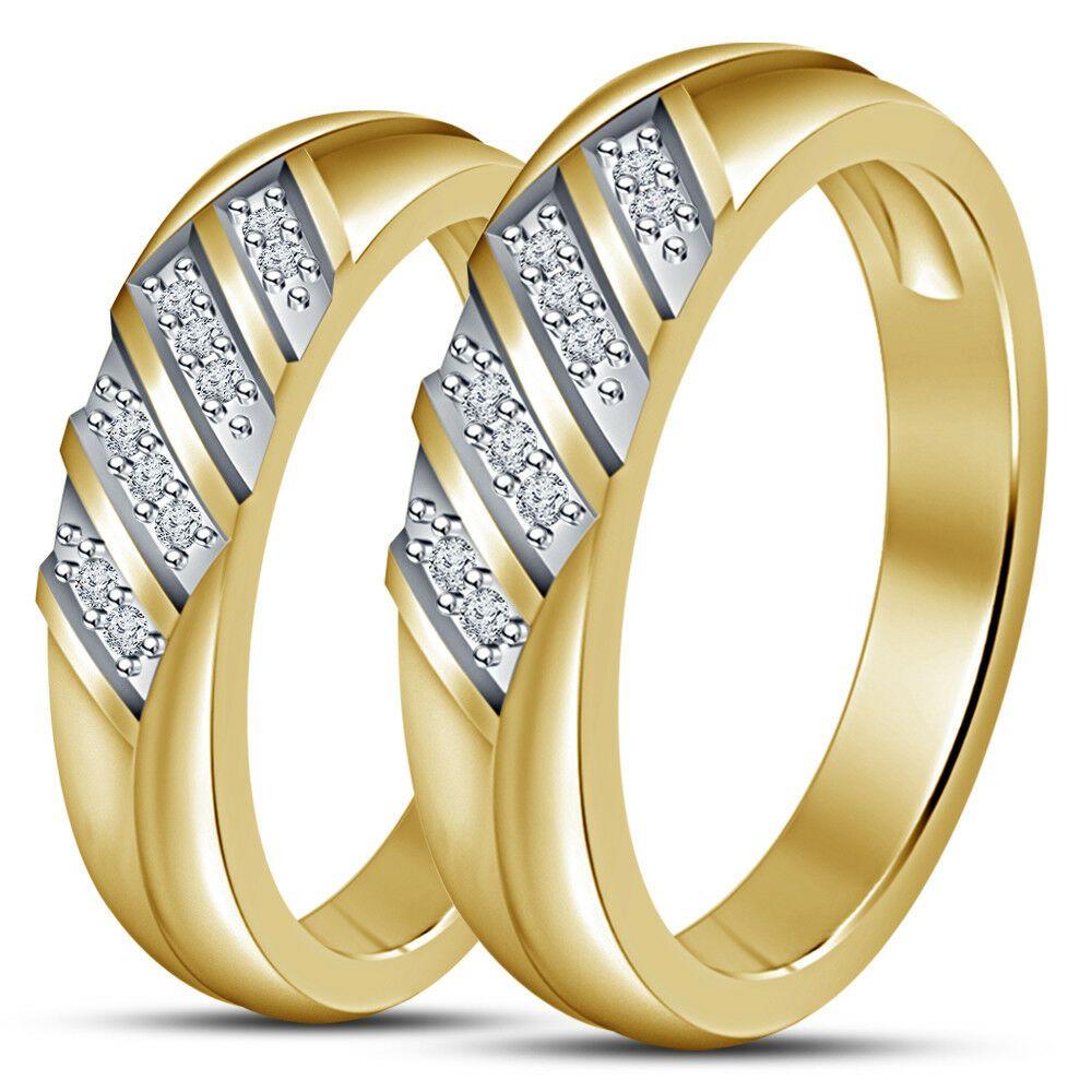 10k Yellow Gold Over Mens Womens Diamond Wedding Couple Band