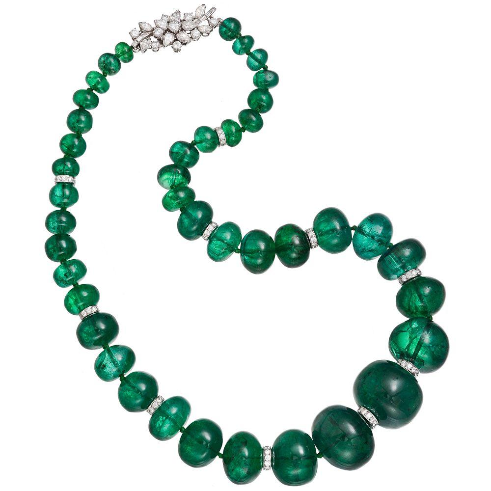 Beaded Diamond: An Emerald Bead Necklace With Bulgari Diamond Clasp. Photo