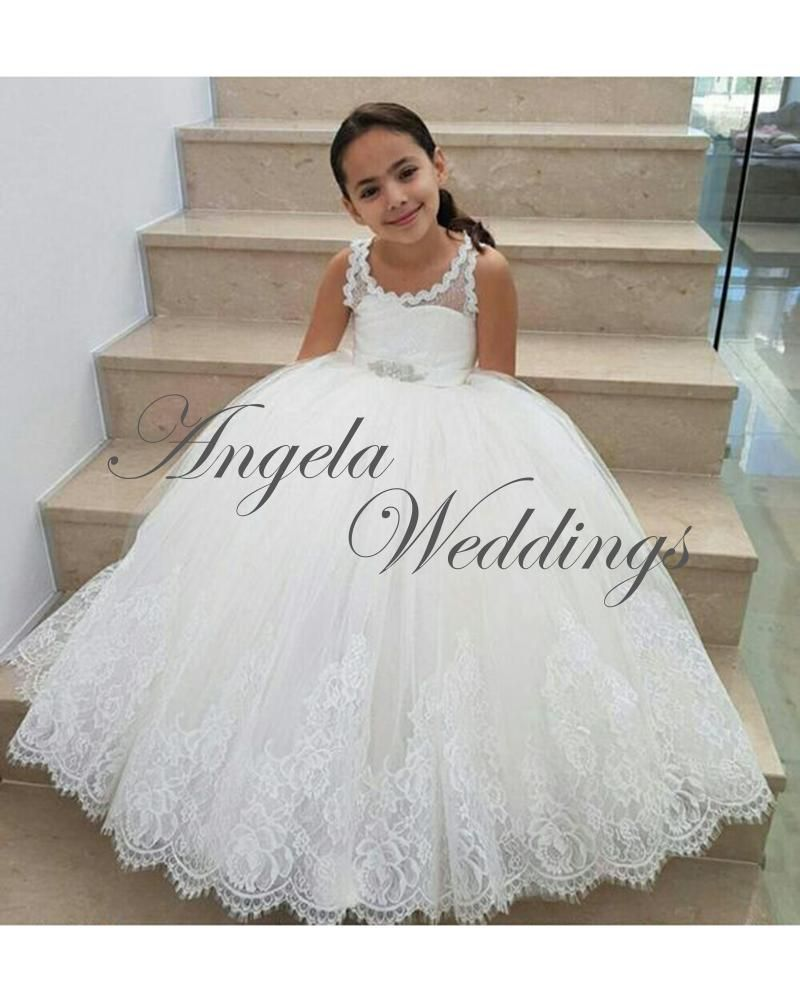 White lace flower girls dresses ball gown for wedding party