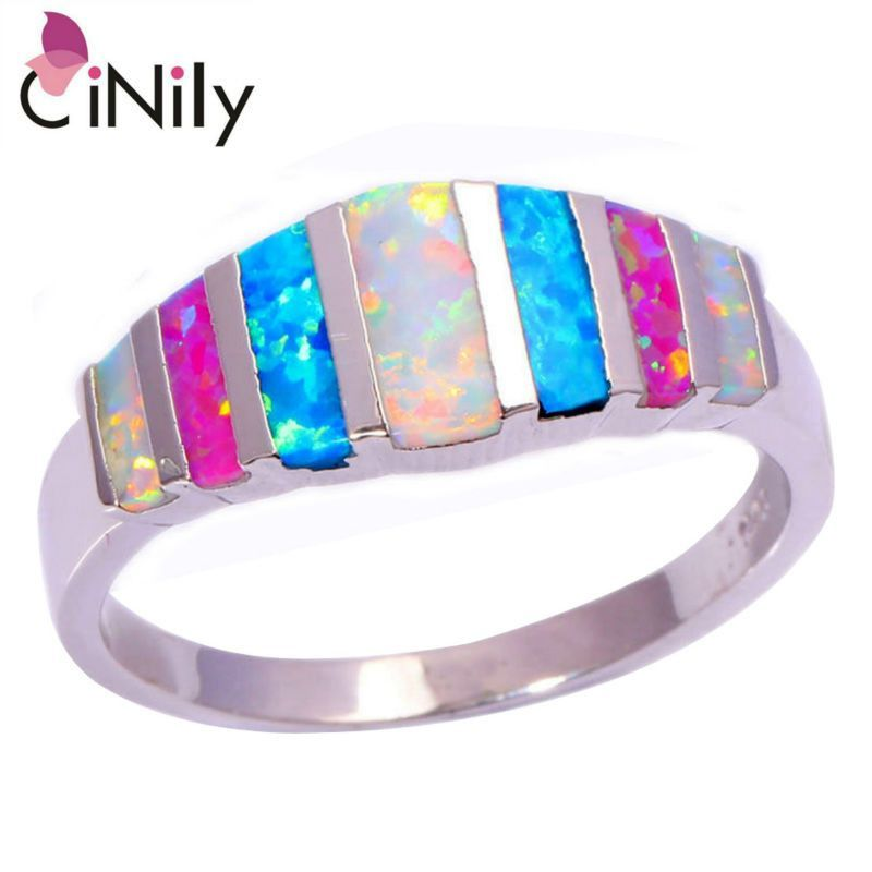 Pink Blue White Fire Opal 925 Silver Stamp Retail for Women Jewelry Ring Fashion Rings Accessories Costume Jewelry