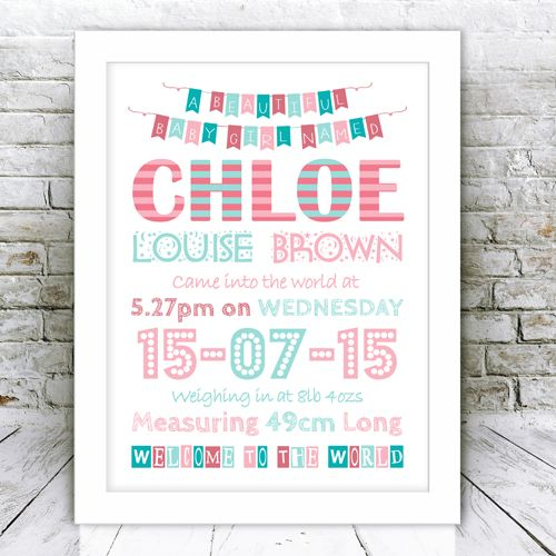 New Baby Girl Personalised Word Art Framed Print – Personalised Birth Announcements