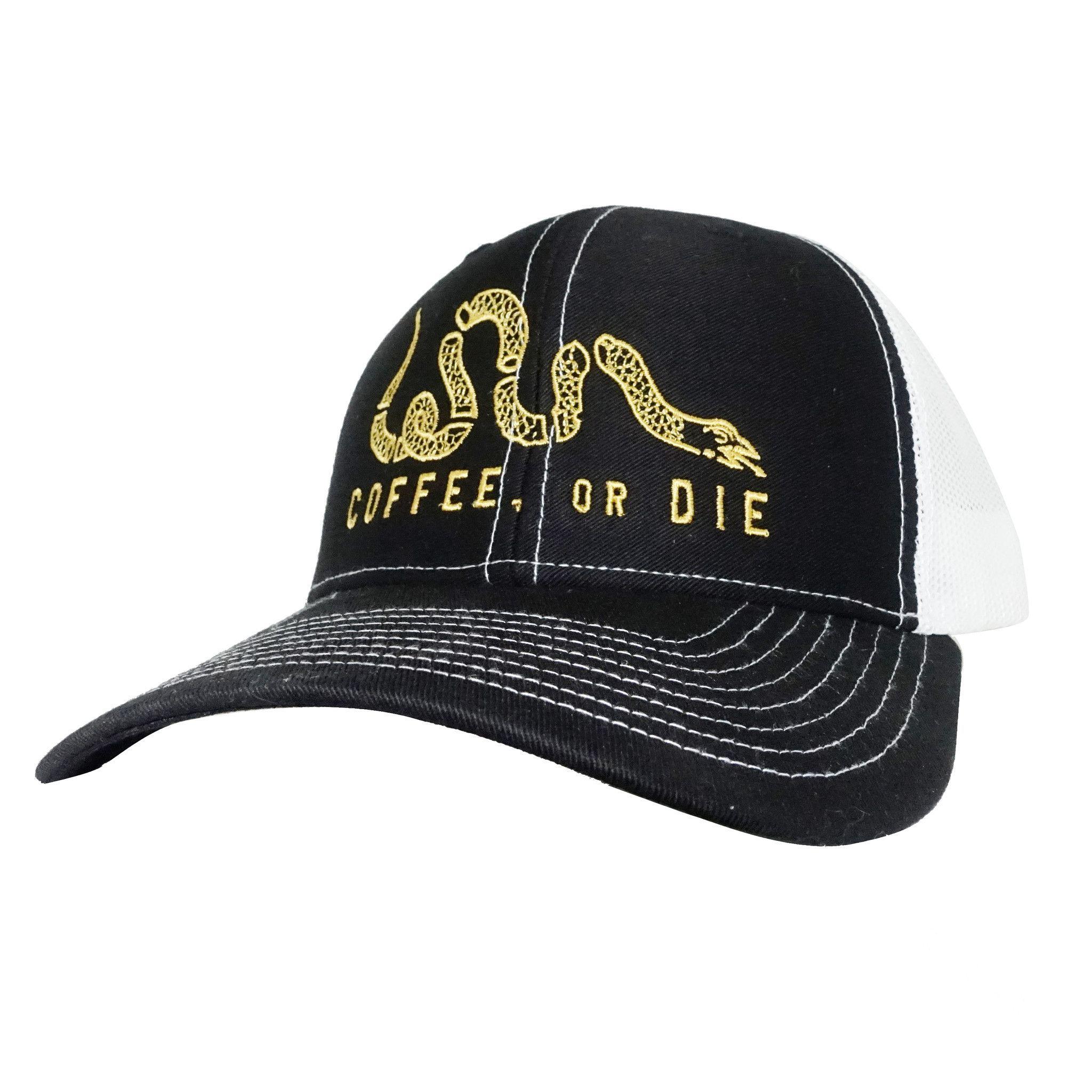 55e02e2684b37 Coffee or Die Trucker Hat - Black on White Mesh - Black Rifle Coffee Company
