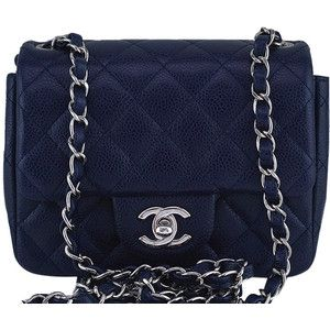 d0b858dff86f Pre-Owned Chanel Navy Blue Caviar Classic Quilted Square Mini 2.55 Flap Bag,  SHW
