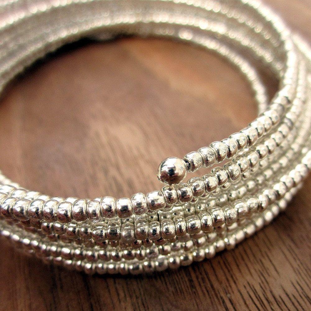 Memory Wire Bracelet Bright Silver Beaded Adjustable