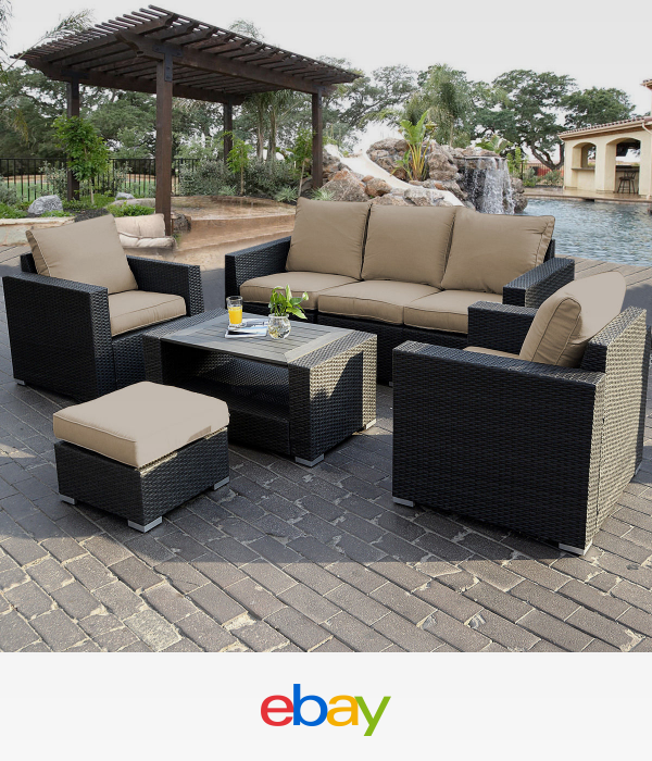 7Pc Outdoor Patio Patio Sectional Furniture Pe Wicker Rattan Sofa Set Deck  Couch - 7PC Outdoor Patio Sectional Furniture PE Wicker Rattan Sofa Set Deck
