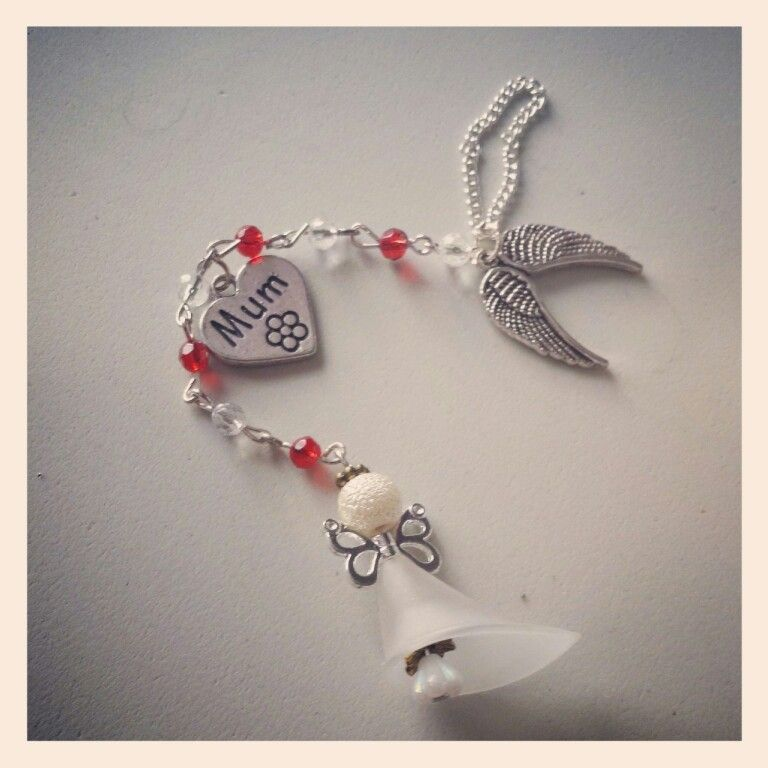 Angel mum christmas tree decoration ~handmade by beads&blessings can do other family members for sale