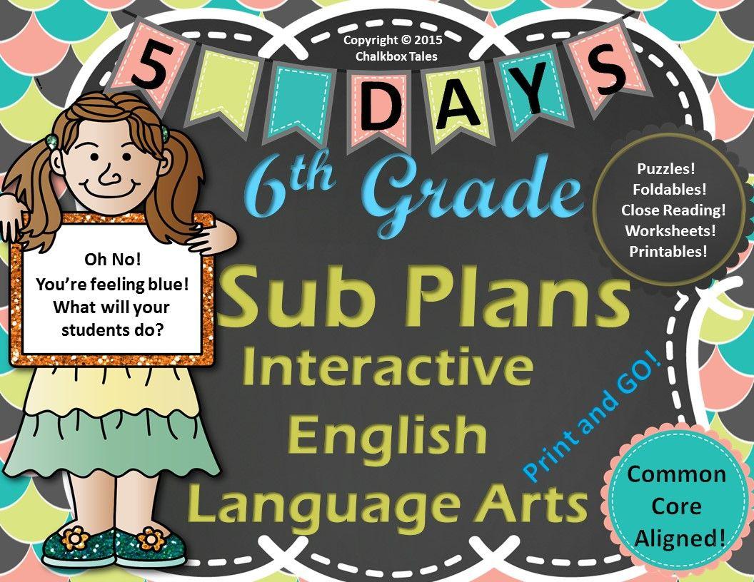 Sixth Grade Interactive Emergency Sub Plans English Language Arts Ccss Aligned
