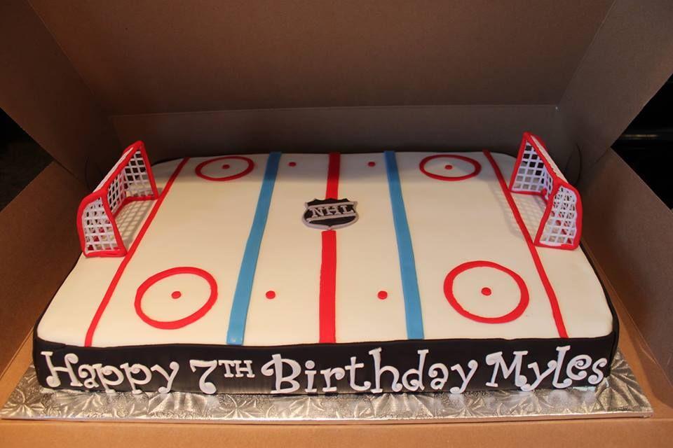 Brilliant Nhl Hockey Rink Cake Hockey Birthday Cake Hockey Birthday Parties Personalised Birthday Cards Petedlily Jamesorg