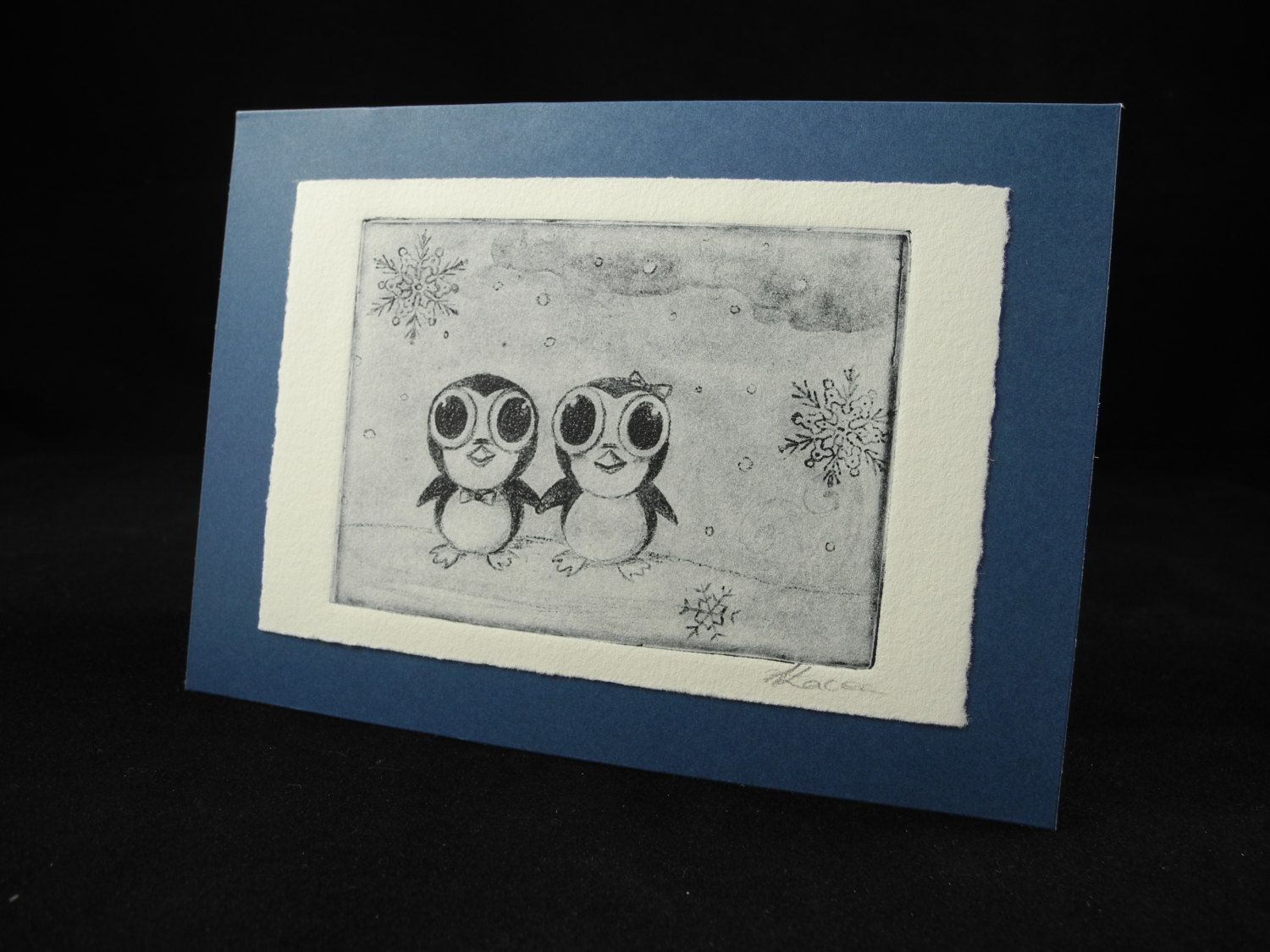 Winter Holiday Penguin Snow Landscape Handmade Card Blue White Etching Original Hand Pulled Print by TheArtfulCrafts on Etsy
