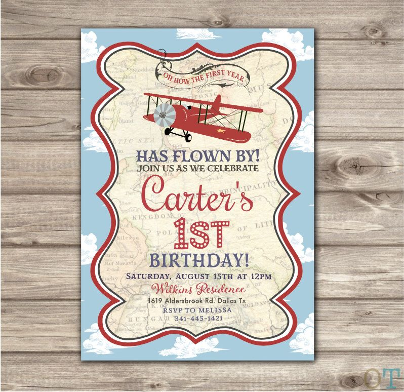 Airplane Birthday Printable Invitations Rustic Theme Party Red Map