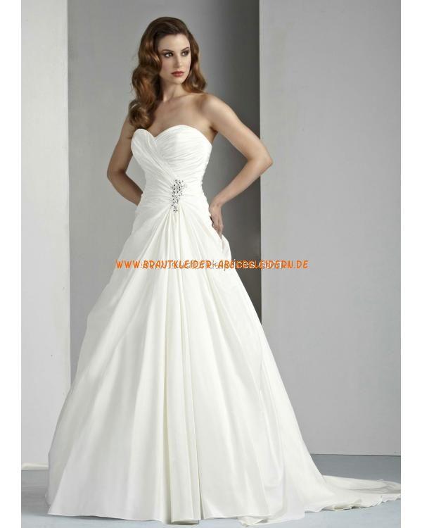 Elegante Brautkleider aus Taft A-Linie mit langer Schleppe online ...