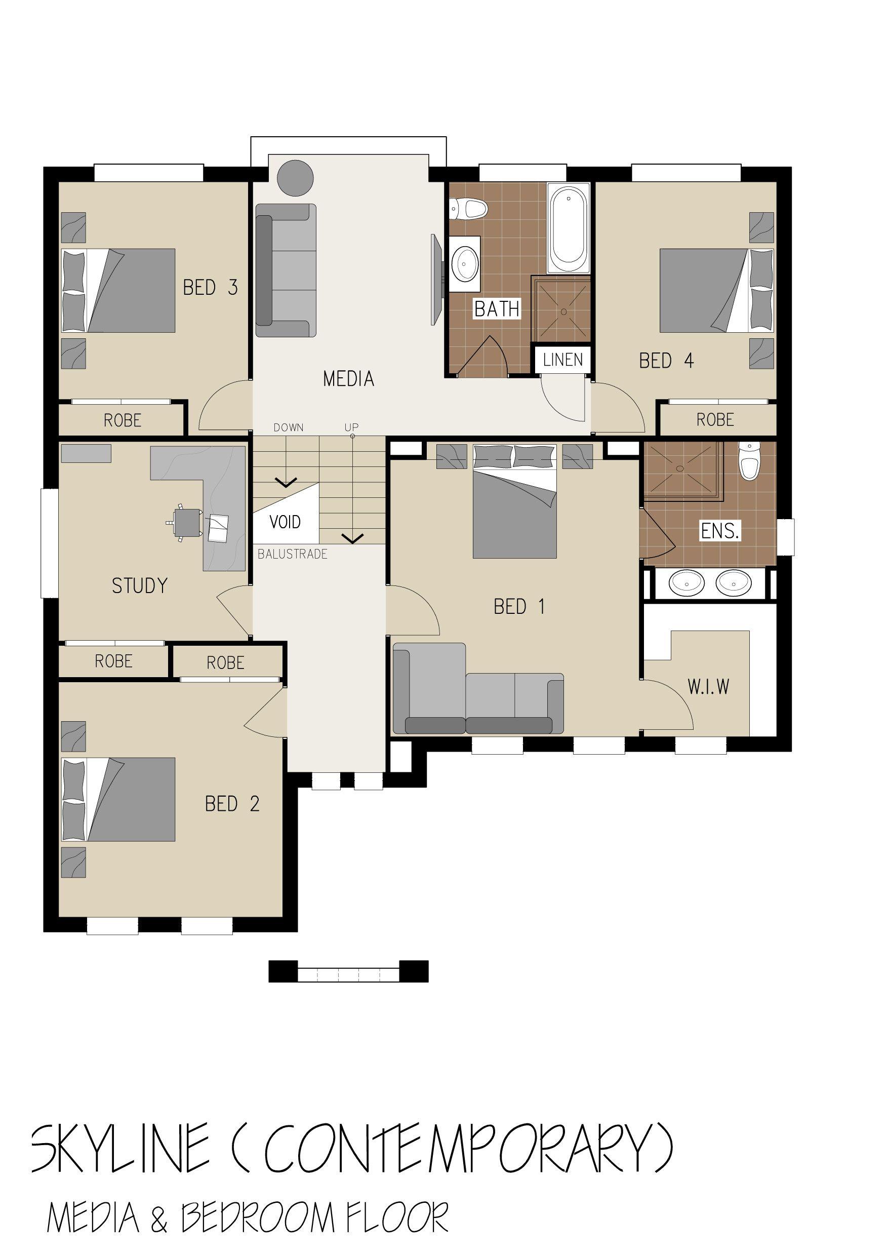 Erdgeschoss haus front design marksman homes  skyline  media and bedroom floor  architectural