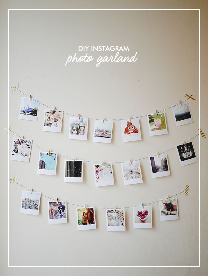 create your own diy instagram photo garland using polaroid style prints string and mini wooden. Black Bedroom Furniture Sets. Home Design Ideas