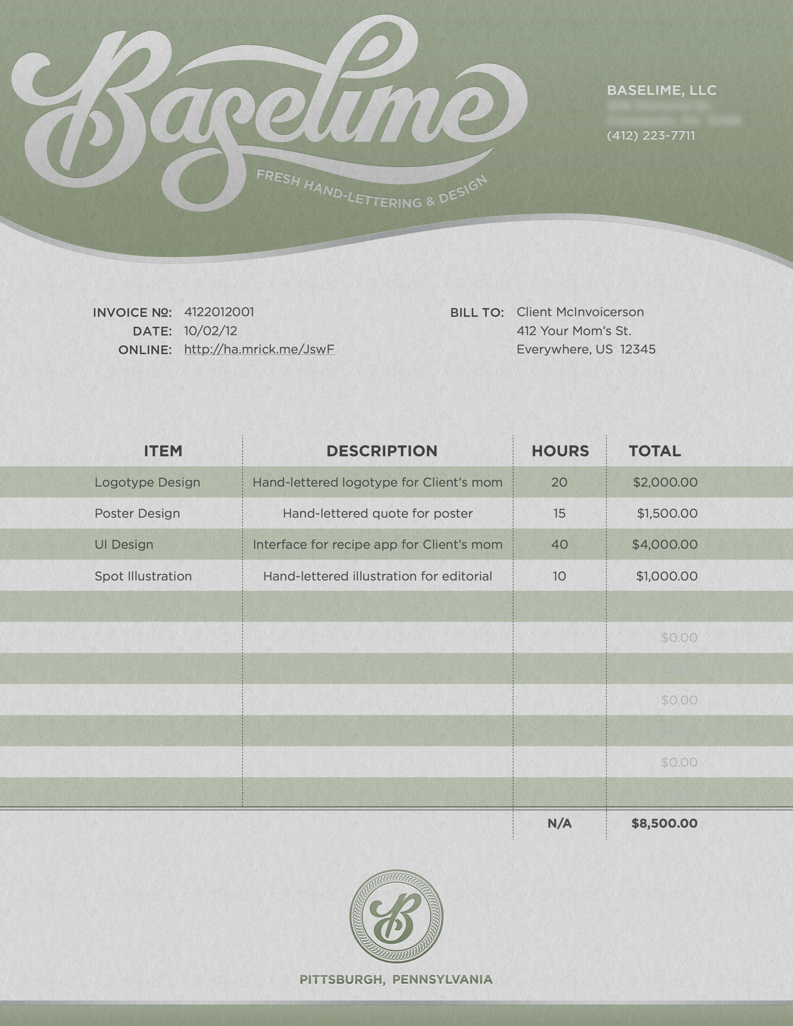 Baselime_invoice_sample | Typeface & Typography | Pinterest ...