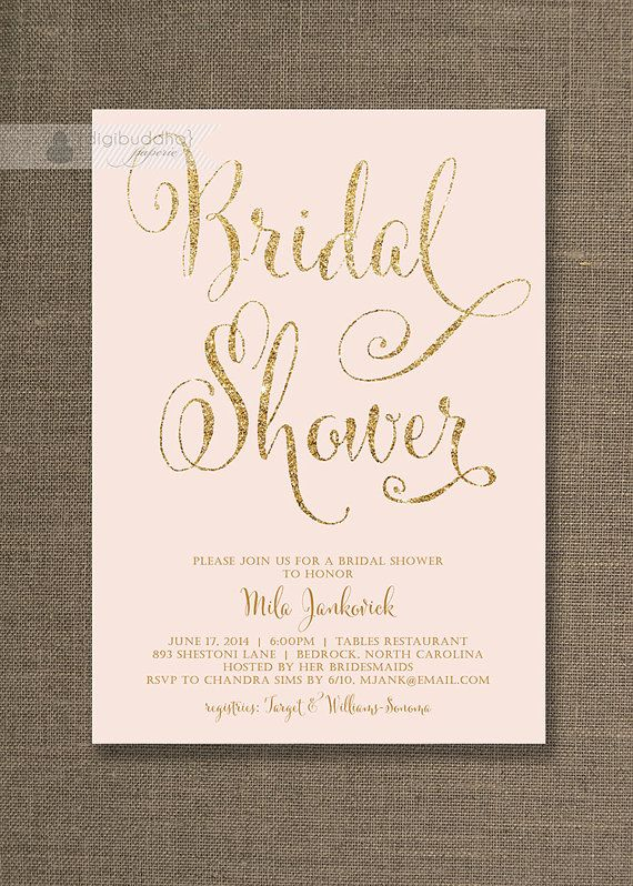 blush pink gold bridal shower invitation gold glitter pastel pink wedding hens party script modern printable digital or printed mila