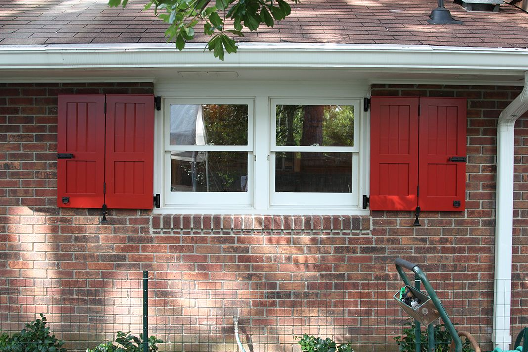 Red bi-fold exterior shutters made for this customer who wanted ...