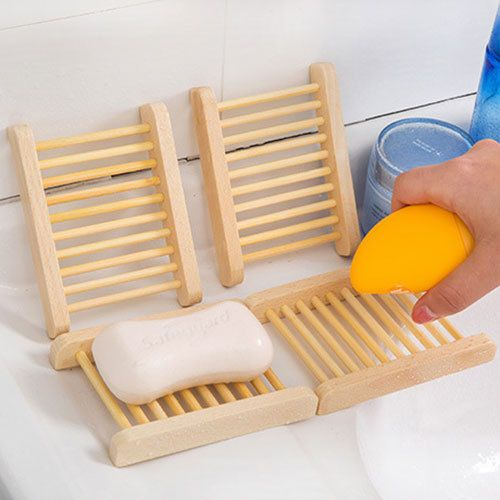 Natural Bamboo Wood Bathroom Shower Soap Tray Dish Storage Holder Plate CA