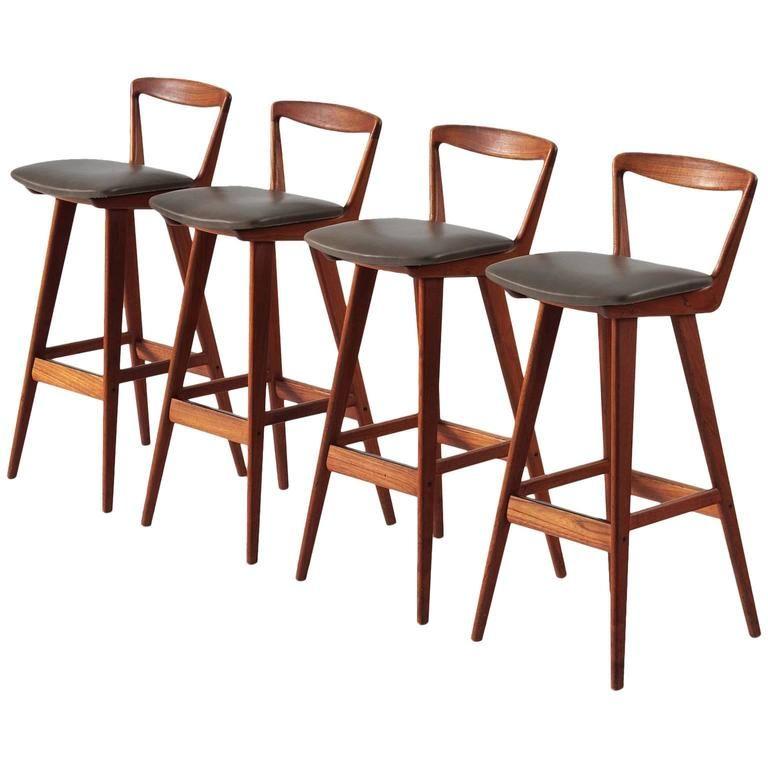 rosengren hansen set of four teak bar stools for brande møbelfabrik