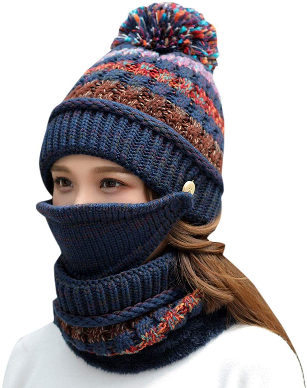 olinase Women Fleece Lined Knit Beanie Ski Hat Scarf Set Mouth Mask Knit Cap