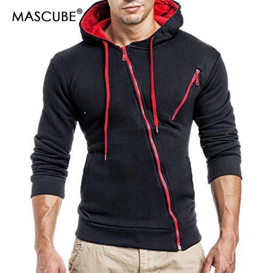 Mens Winter Zip Up Hoodie Slim Hooded Sweatshirt Jumper Coat Jacket Outwear Tops
