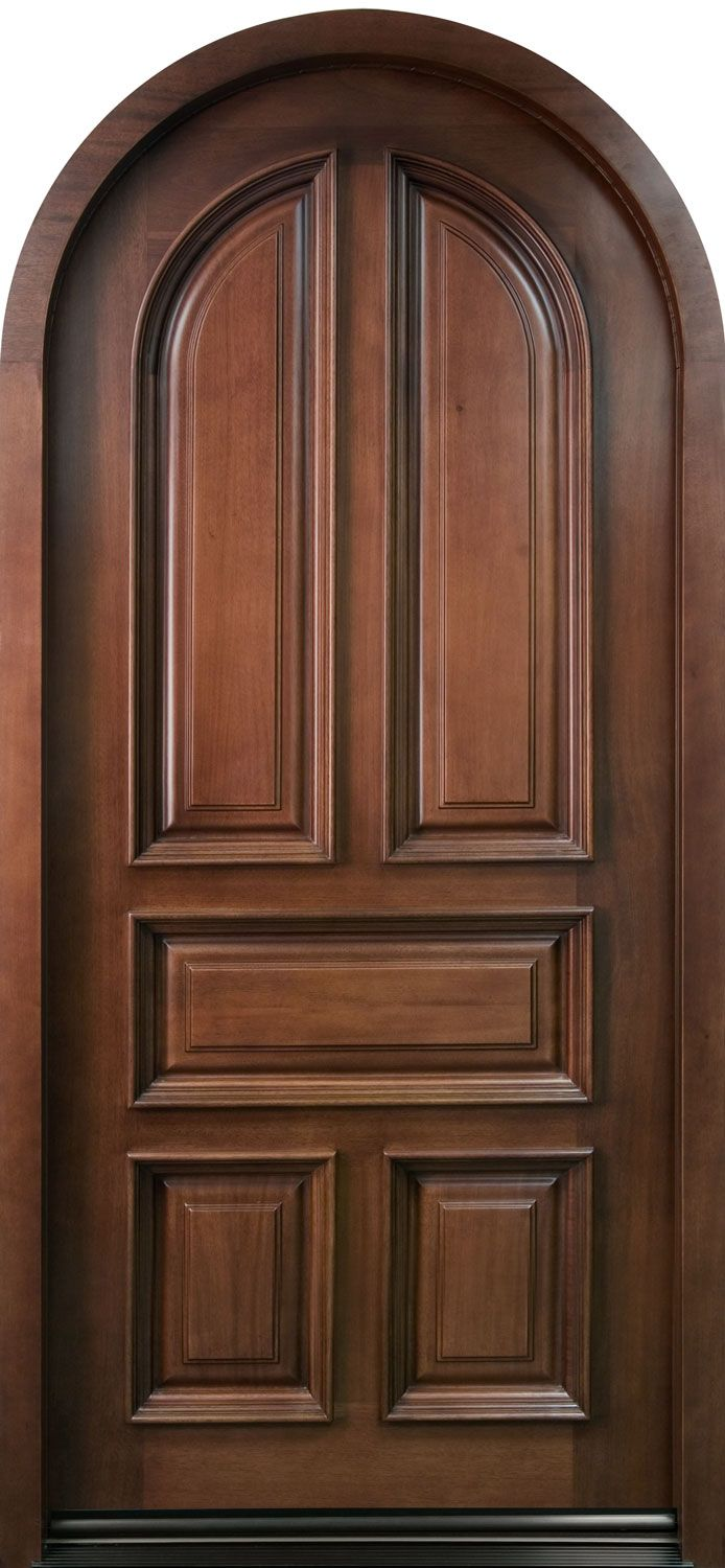 Front Door Custom Single Solid Wood With Dark Mahogany Finish