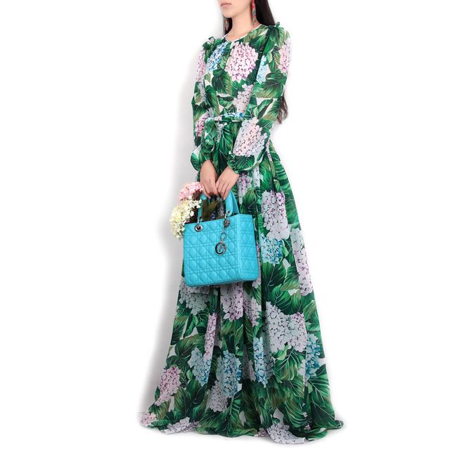 High Quality New Spring Summer 2017 Women Runway Maxi Dress Flowers Green Leaves Printing Beach Casual Long Long Dress Casual Maxi Dress Long Green Maxi Dress