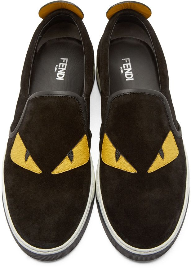 ed968f56f58 Fendi Black Suede Slip-On Bugs Sneakers