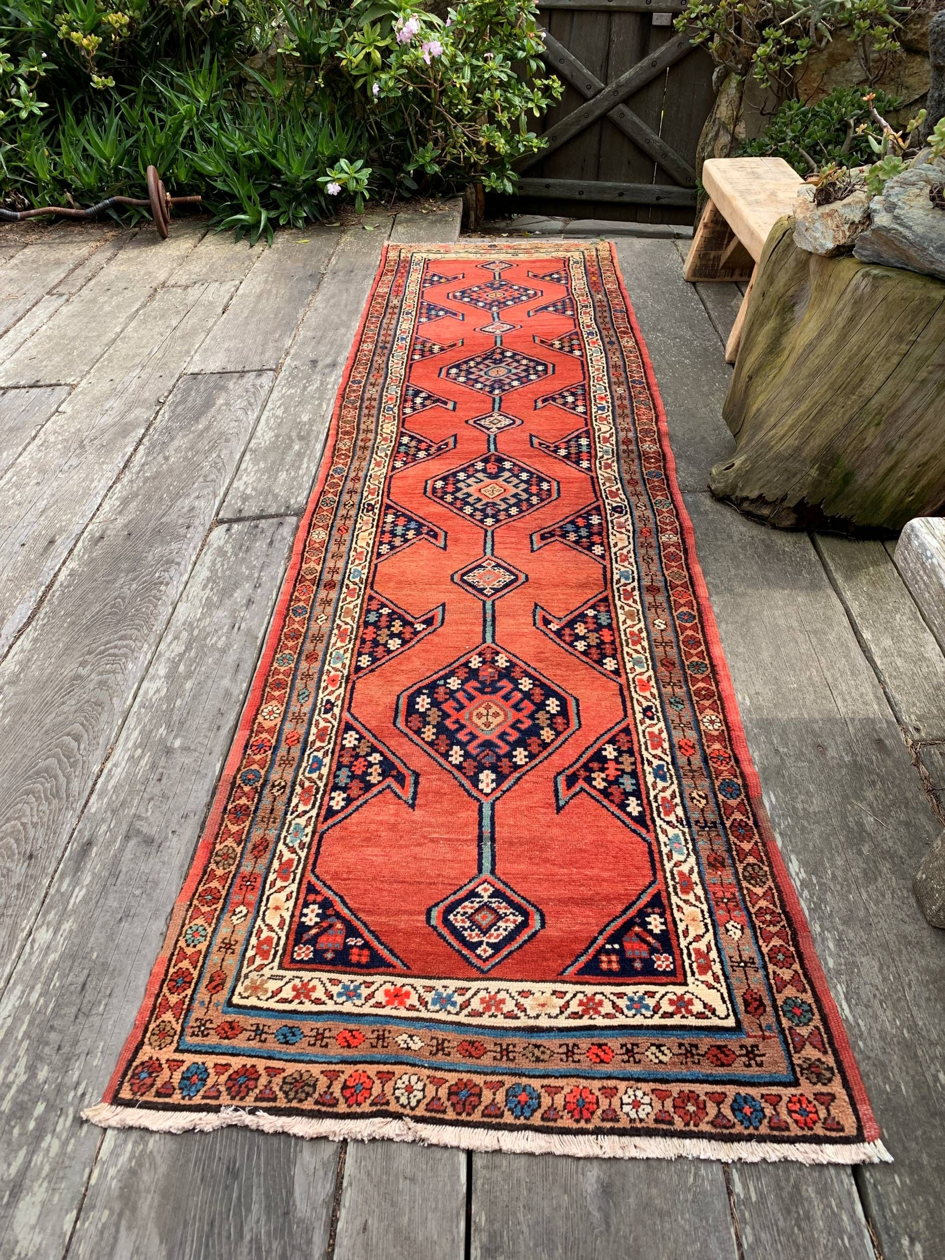 Vintage Persian Runner Rug 3x12 Coral And Navy Dream Persian Rug
